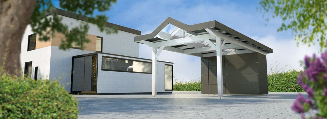 russ carports carport linea 1 hpl fassade mit abstellraum. Black Bedroom Furniture Sets. Home Design Ideas